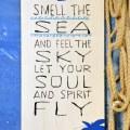 Schild mit smell the sea