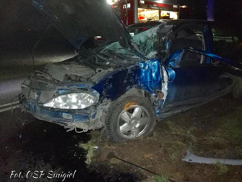 Pojazd wypadł z drogi i uderzył w drzewo