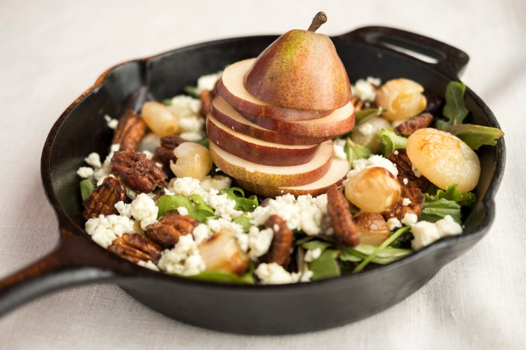Pear, Roasted Onion & Bleu Cheese Salad with Candied Pecans