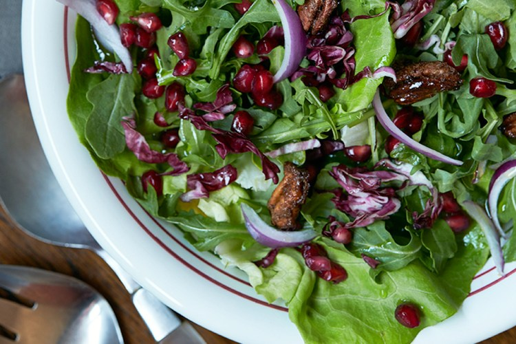 Green Salad with Pomegranate Arils and Candied Pecans