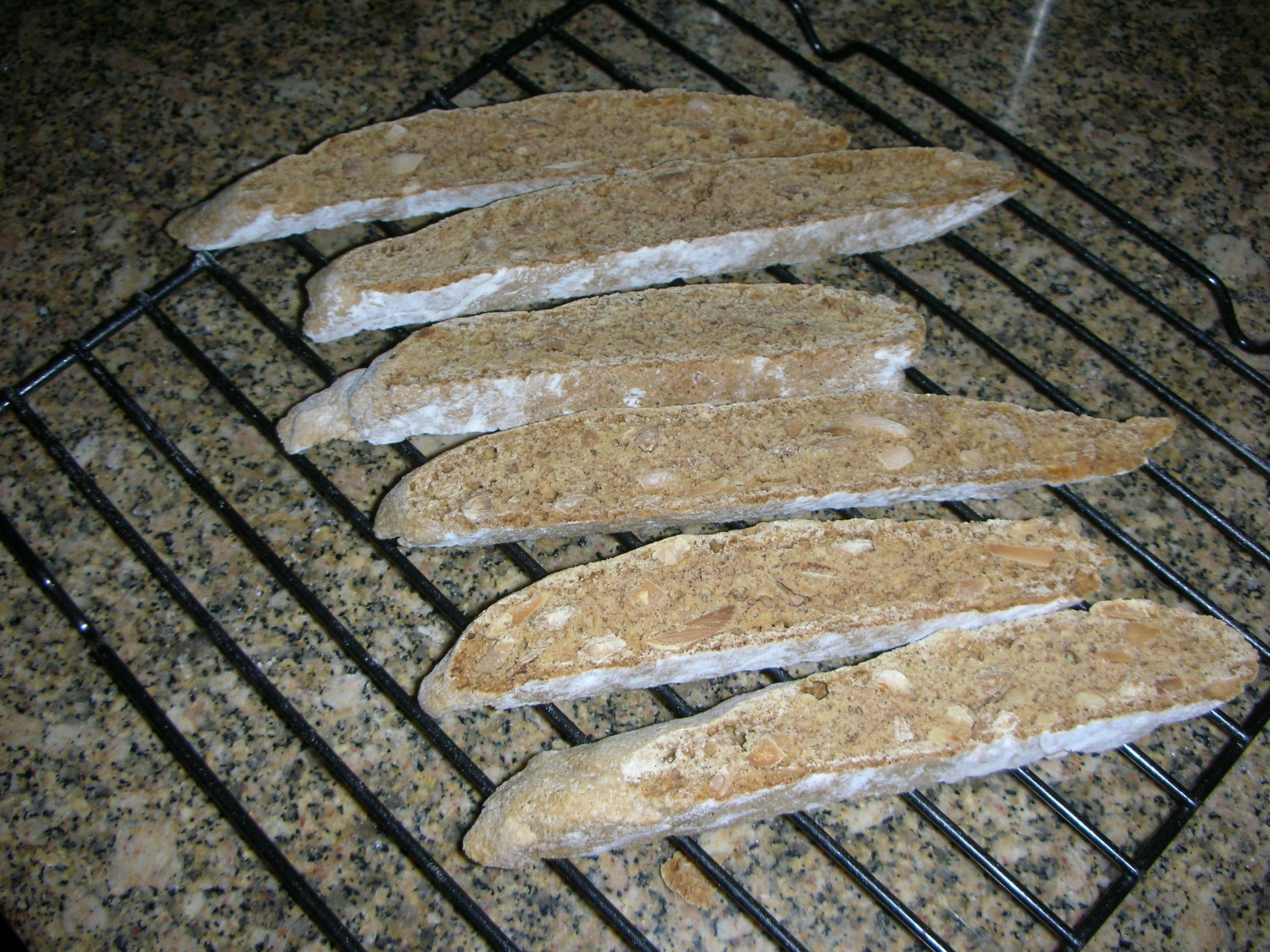 Tuscan almond biscotti second baking sliced