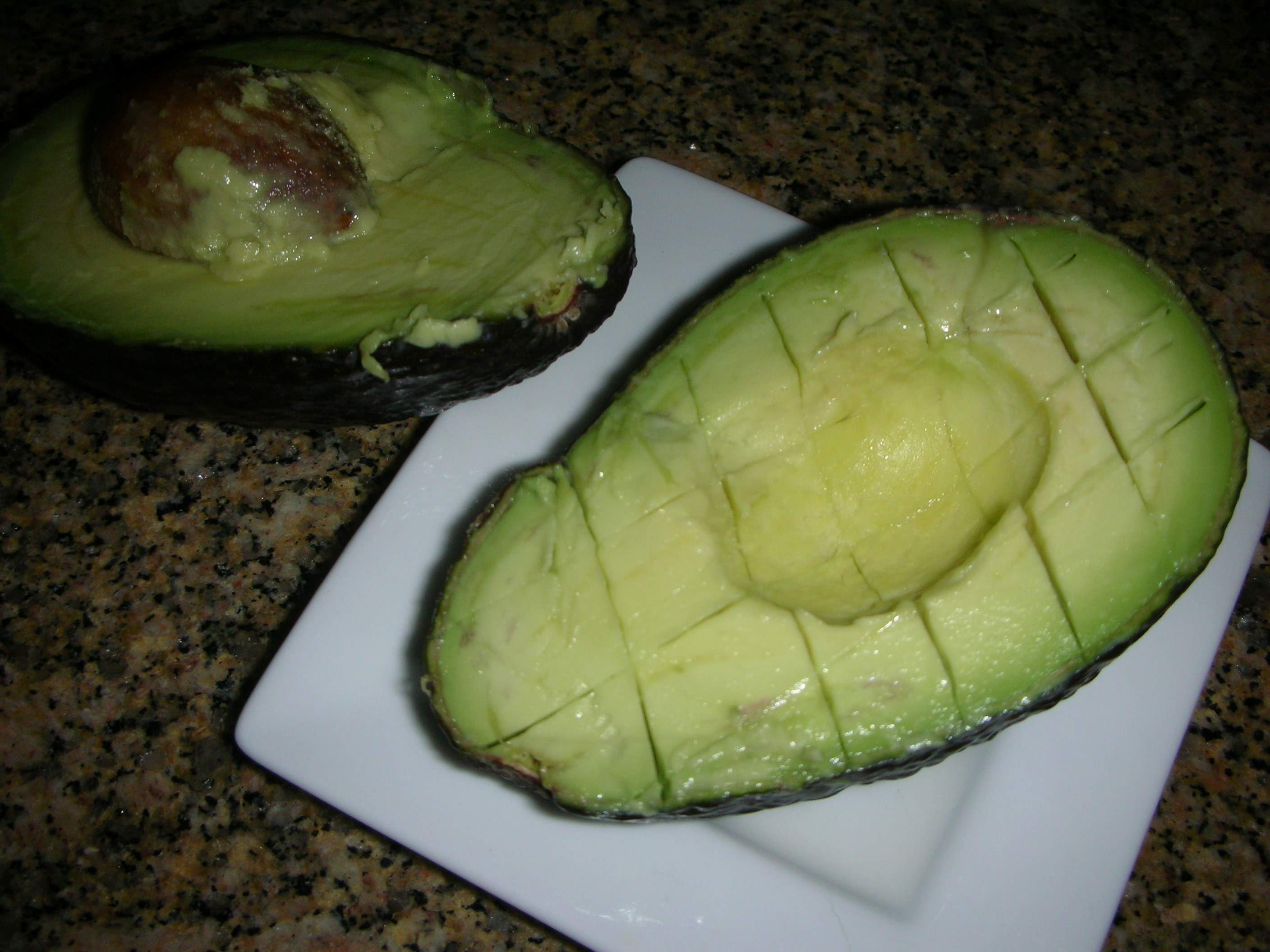 avocado ready to be scooped