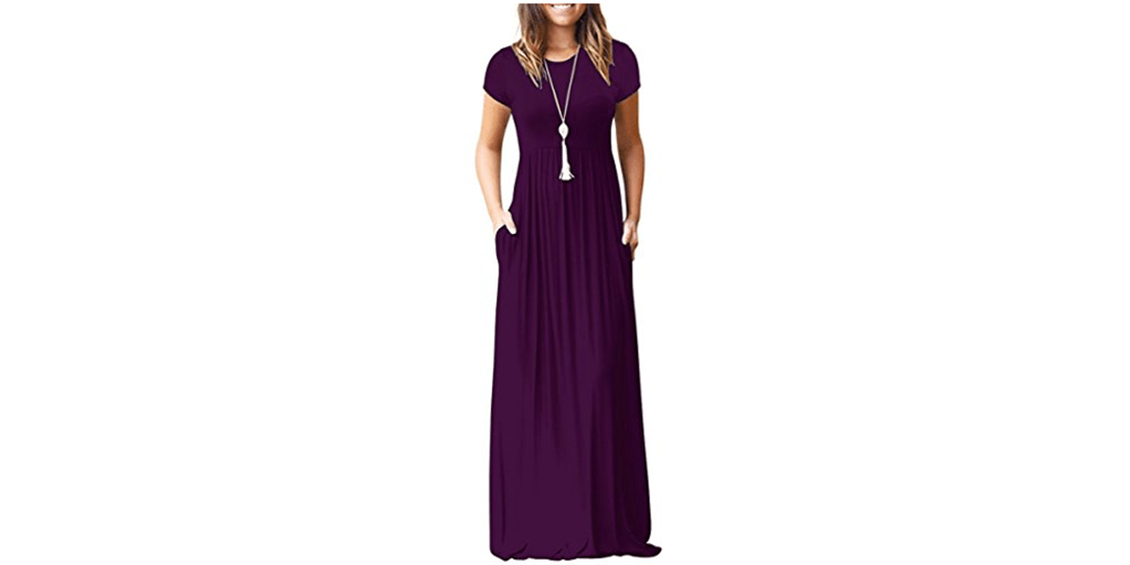 b7f978c444f2 Amazon LIGHTNING DEAL: Auselily Short Sleeve Maxi Dress with Pockets ...