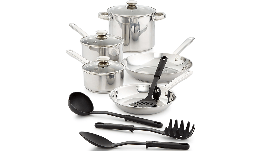 Macy's LAST ACT: Bella 12-Pc Stainless Steel Cookware Set