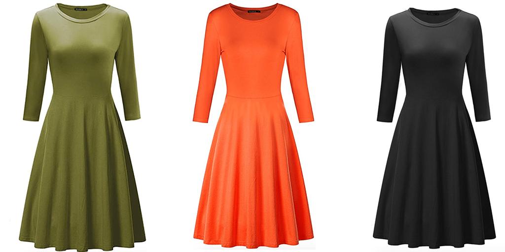 Amazon COUPON: Ouges Women's 3/4 Sleeve Dress