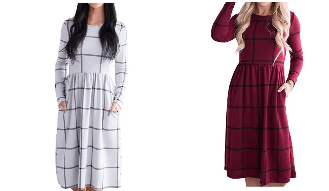 Amazon | BEST PRICE + COUPON: Bigyonger Women's Dresses Long Sleeve Empire Waist Patch Buffalo Plaid Pocket Midi Dress