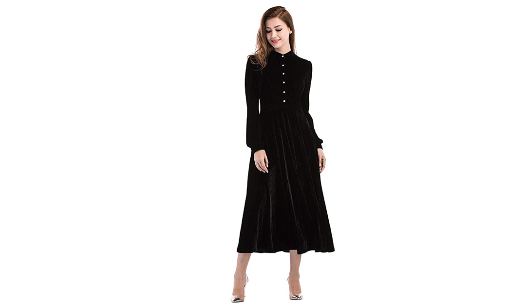 Amazon | BEST PRICE + COUPON: Peter Pan Collar Velvet Dress