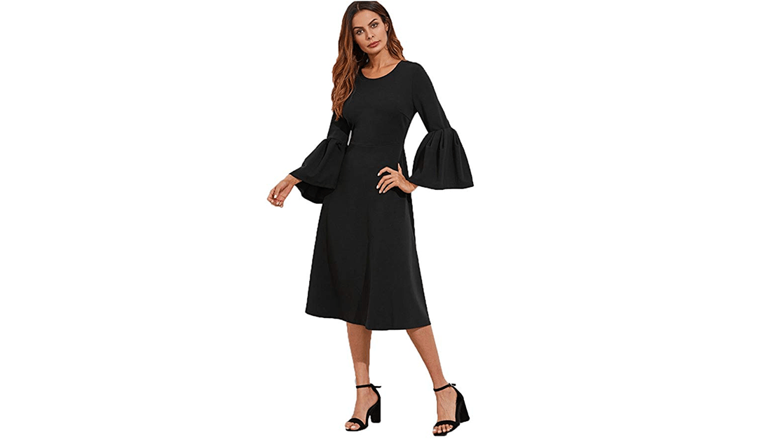Amazon | EXPIRED: Floerns Bell Sleeve Knee Length Dress