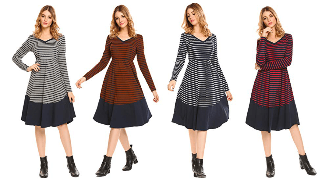 Amazon | BEST PRICE + COUPON: 70% off Striped Zeagoo Long Sleeve Dress