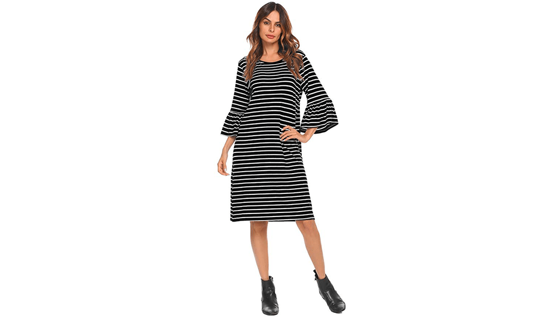Amazon   BEST PRICE + COUPON: Elesol Bell Sleeve T-Shirt Dress