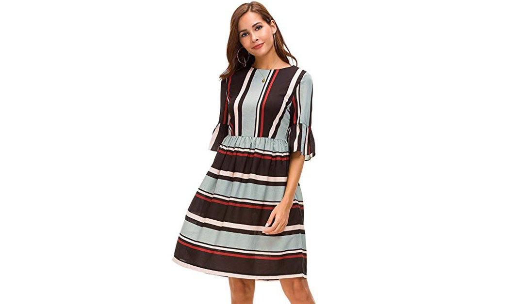 Amazon | BEST PRICE + COUPON: Feraco Striped Ruffle Bell Sleeves Dresses for Women Casual Slim Tunic Midi Party Dress with Zipper