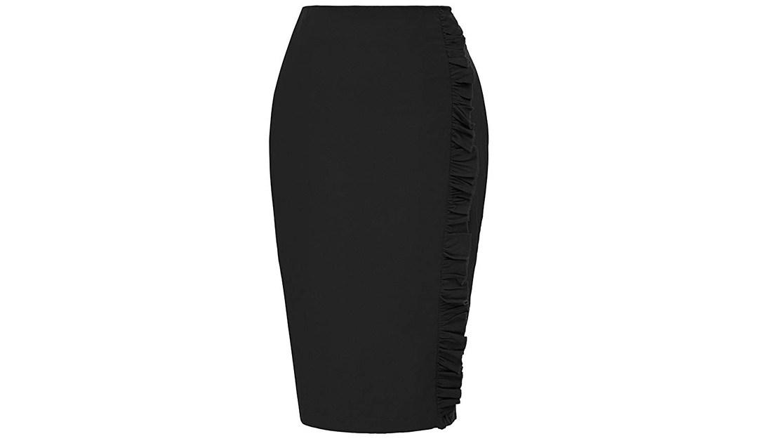 Amazon | BEST PRICE + COUPON: Kate Kasin Ruffle Knee Length Skirt