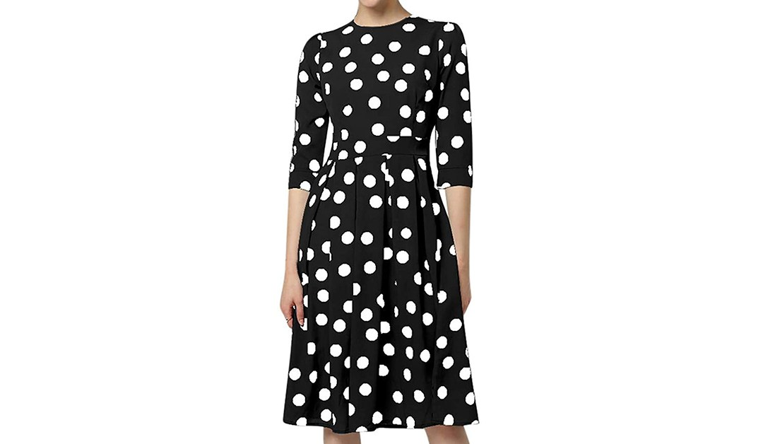 Amazon | 80% OFF DEAL: Bollysky Women's Three Quarter Sleeve Polka Dot Party Dress
