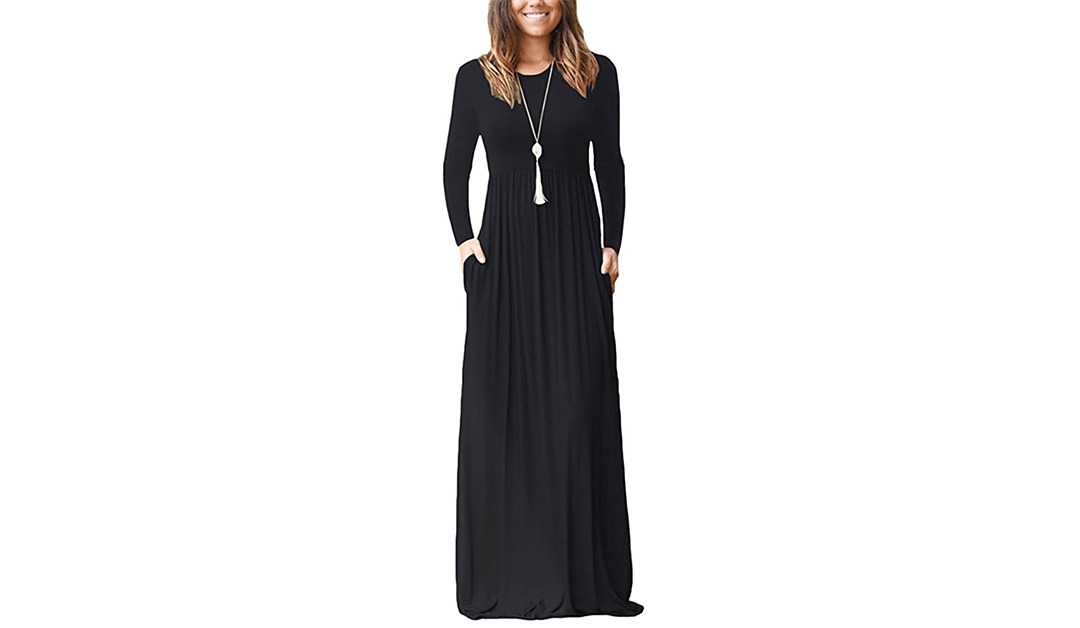 Amazon | #PrimeDay2020 + LIGHTING DEAL: AUSELILY Women Long Sleeve Loose Plain Plus Size Maxi Dresses Casual Long Dresses with Pockets