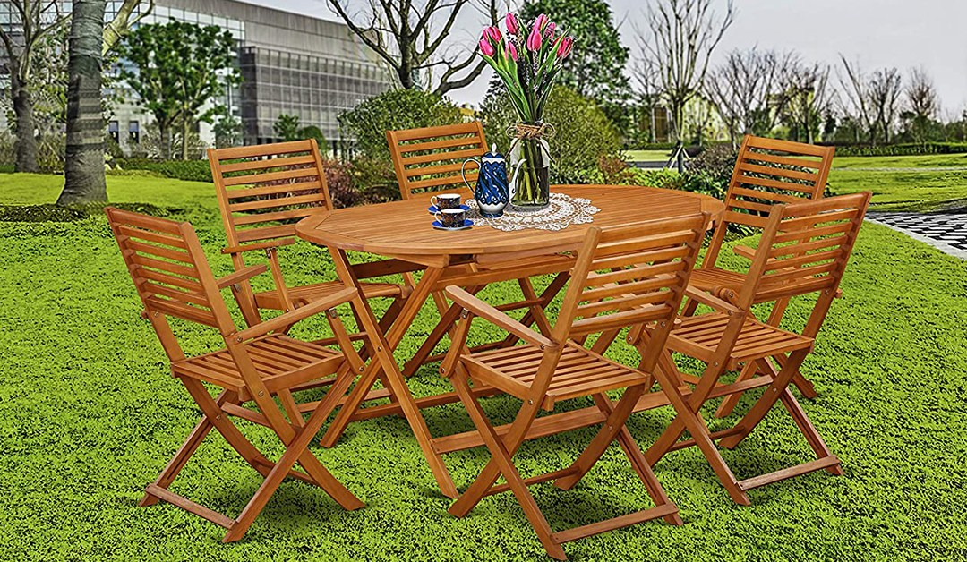 Amazon | BEST PRICE: 7 Pc Acacia Wood Outdoor Dining Set