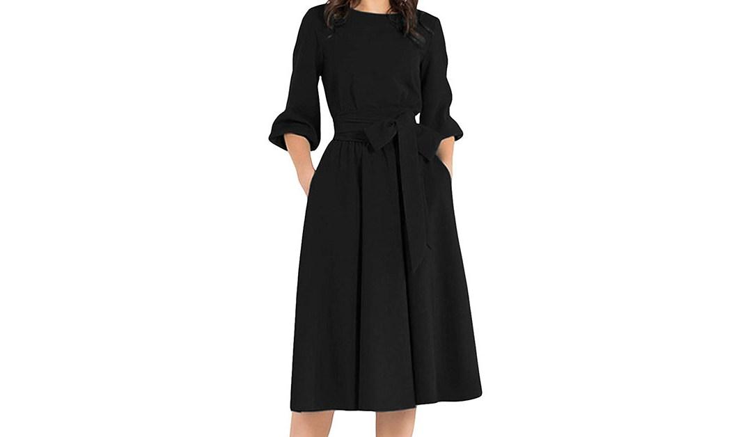 Amazon |  HOT DEAL: AOOKSMERY Women Elegance Audrey Hepburn Style Round Neck 3/4 Puff Sleeve Swing Midi Dress Long Belt Dresses with Pockets