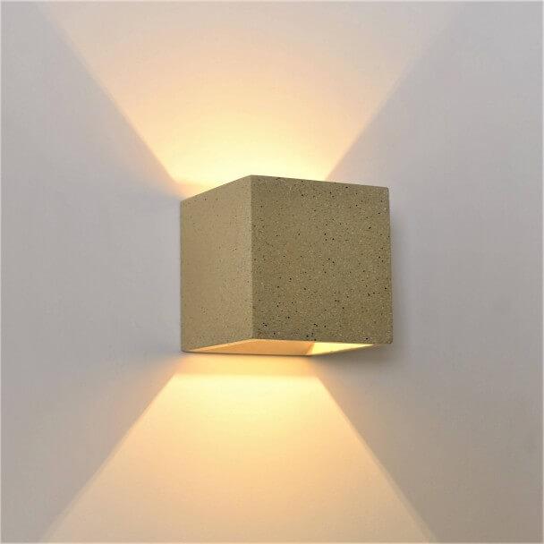 applique beton gris sable double eclairage terra