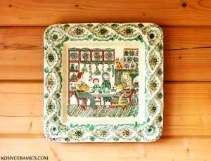 кераміка, ручна робота, кераміка ручної роботи, троць, косівська кераміка, гуцульська кераміка, керамічна картина, картина, сімейний сюжет