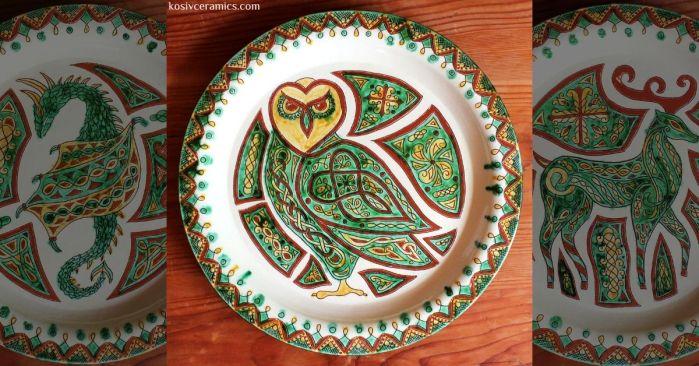 косівська кераміка, сграфіто, посуд, декор, кераміка, троць, міфічні, охоронці