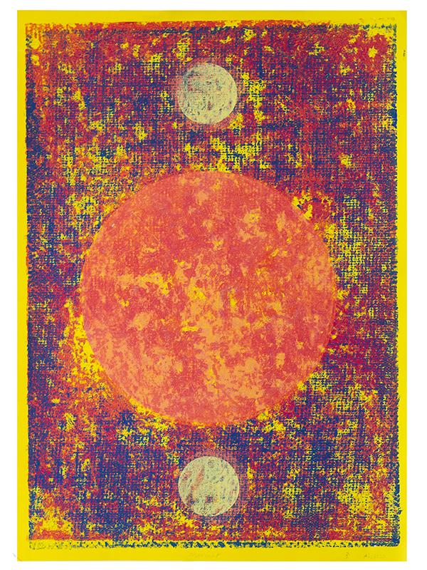 Marmar, 2019, Linoldruck auf Digitaldruck, 46 x 32 cm