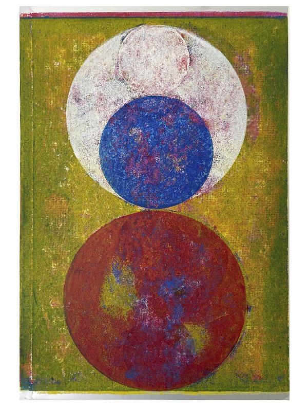 Orbes, 2020, Linoldruck auf Silberpapier, 44,5 x 30 cm