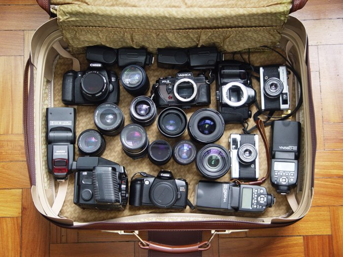 Suitcase full of cameras
