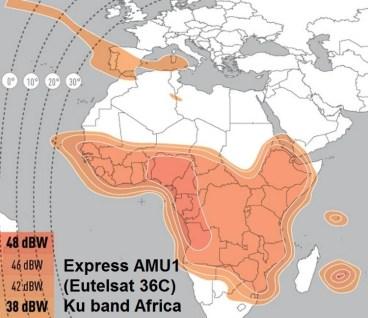 Express AMU1/Eutelsat 36C - odbiór pasma Ku wiązki afrykańskiej / Credit: Eutelsat