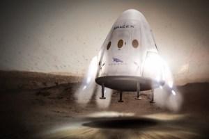 Dragon přistává motoricky na Marsu - zatím jen v představách umělce