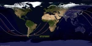 Pozícia, v ktorej došlo 3. júna 2017 k najbližšiemu priblíženiu sa satelitu USA-276 k ISS
