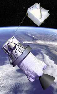 Družice SED-1 spojená na laně s druhým stupněm rakety Delta-II