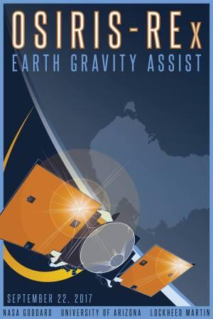 Plakát připomínající průlet sondy OSIRIS-REx kolem Země