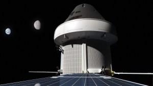 Takto si pohled na Orion, Zemi a Měsíc ze solárních panelů představuje Nathaniel Koga.