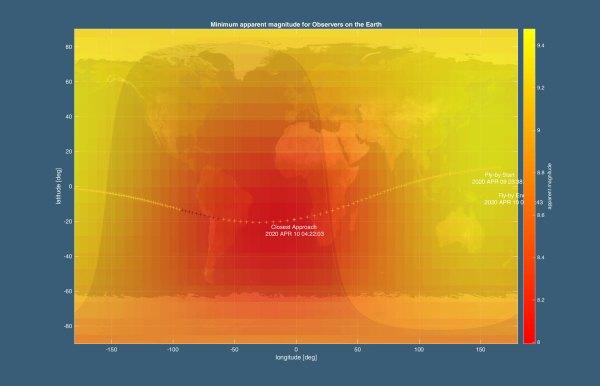 Dráha průletu BepiColombo kolem Země 10. dubna 2020.