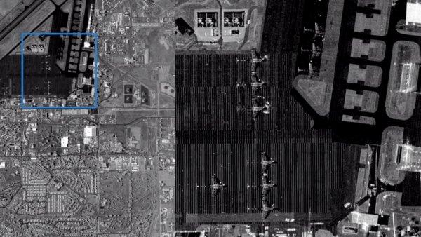 Radarový snímek San Francisca pořízený družicí Denali od firmy Capella.