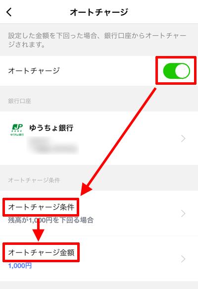 LINE Pay「オートチャージの設定」