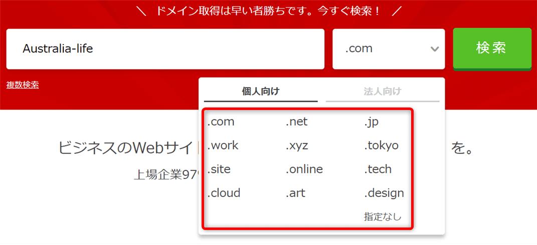 オーストラリアでドメインの取得が出来る『お名前.com』のドメイン検索画面と解説の画像