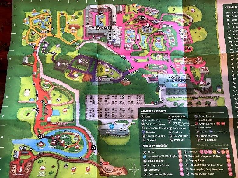 Australia Zoo の園内地図と詳細