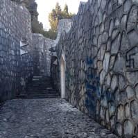 Walled walkway.