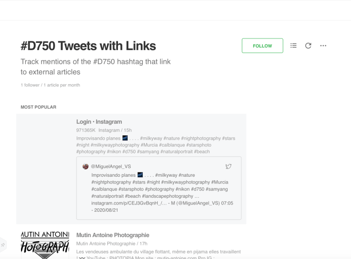 Feedly Tweets with Links