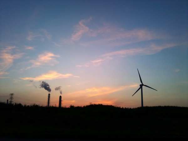 Sunset and Wind power