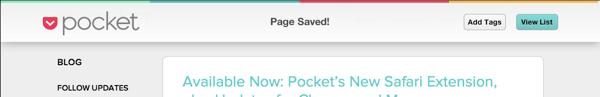Pocket Saved
