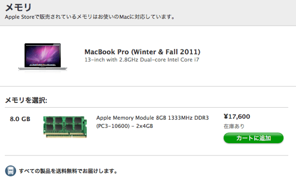 MacBook Pro純正メモリー