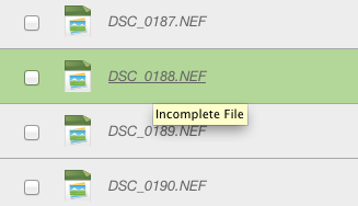Incomplete File