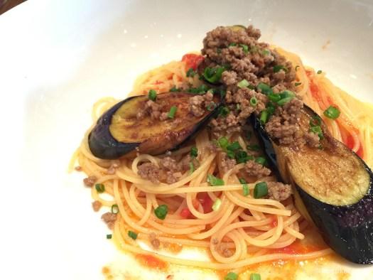 すぱじろうのナスと挽肉のペペロンチーノ