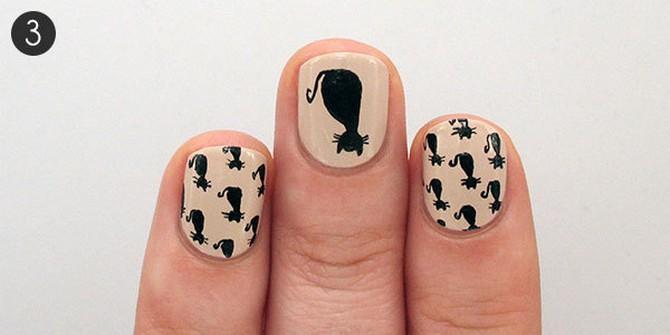 как нарисовать кота на ногтях (1)