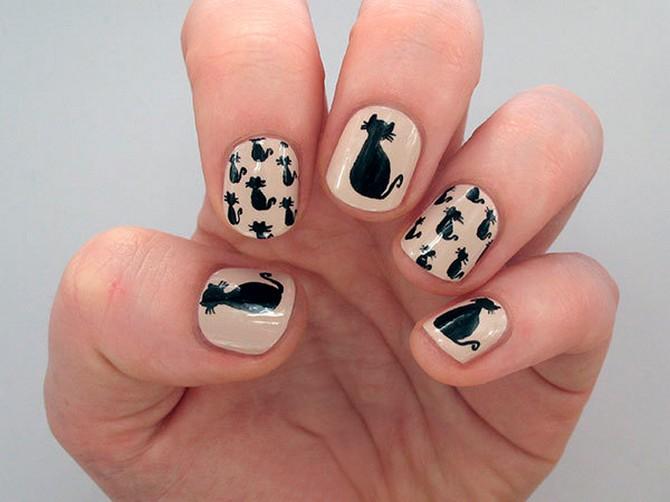 как нарисовать кота на ногтях (2)
