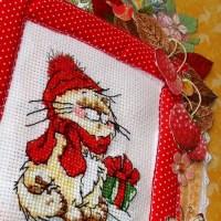 Схема для вышивания Новогодний кот