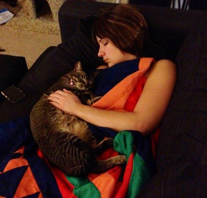 Чувствуя, что хозяину нездоровится, кошка предпочитает полежать на нем