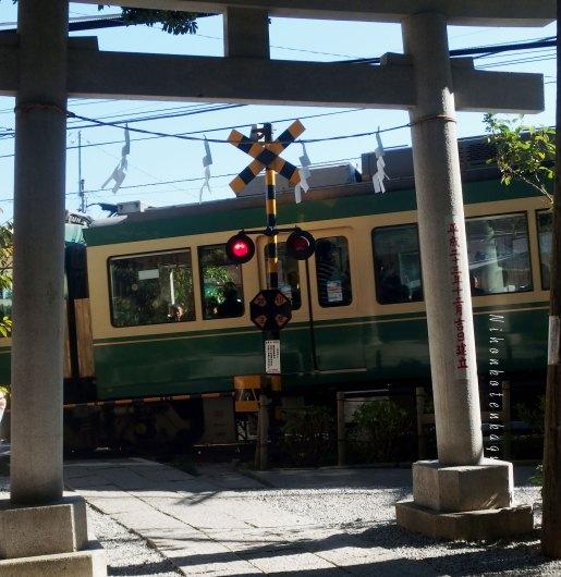 御霊神社の鳥居前を通る、江ノ電