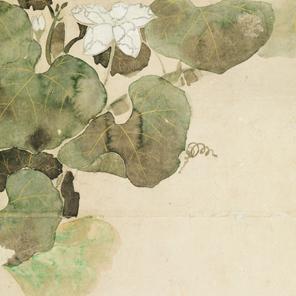 根津美術館所蔵 伝立林何帛「木蓮棕櫚芭蕉図屏風」